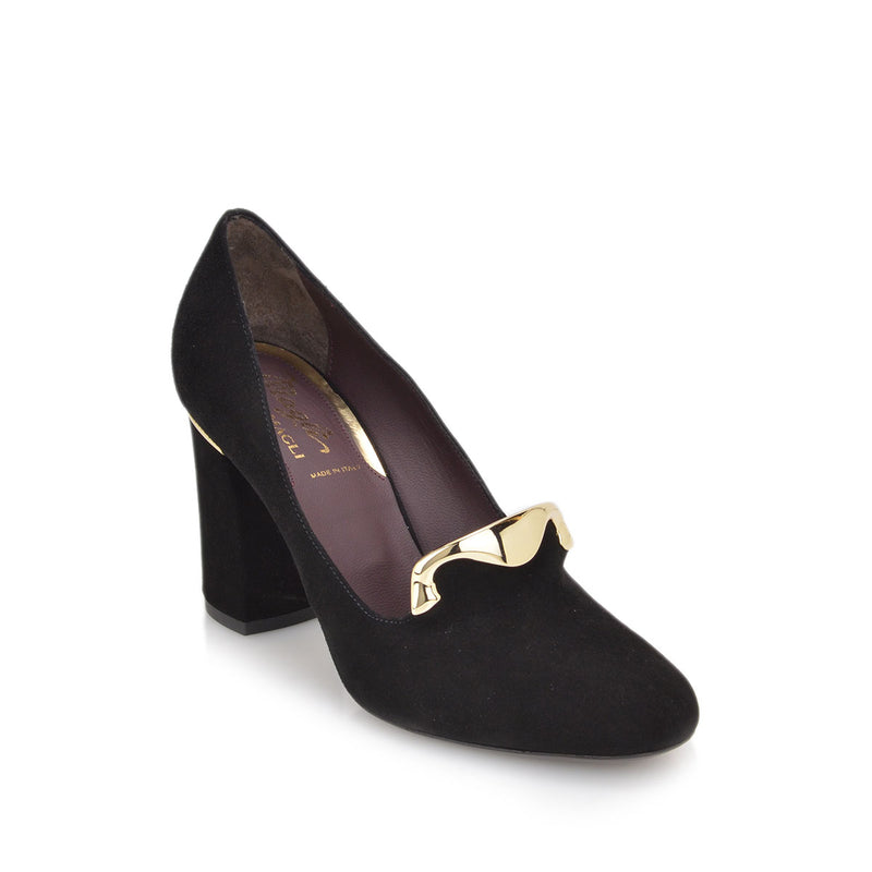 Vissa Chunky Heel Pump, 3-Inch - Black Suede - FINAL SALE