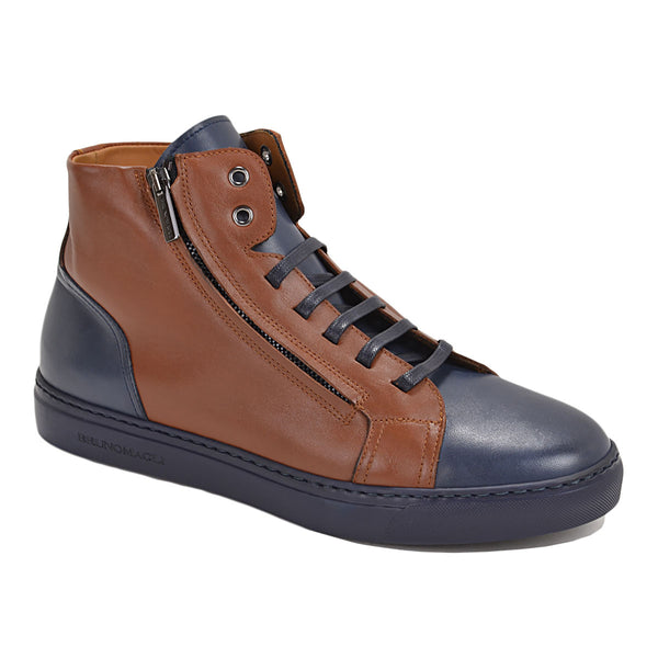 Vizzi High-top Sneaker - Cognac/Blue Leather