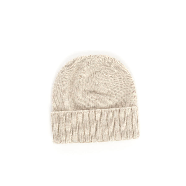 Fitted Fold-Over Cashmere Hat - Sand