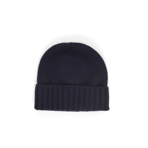 Fitted Fold-Over Cashmere Hat - Blue