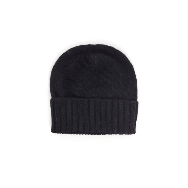 Fitted Fold-Over Cashmere Hat - Black - FINAL SALE