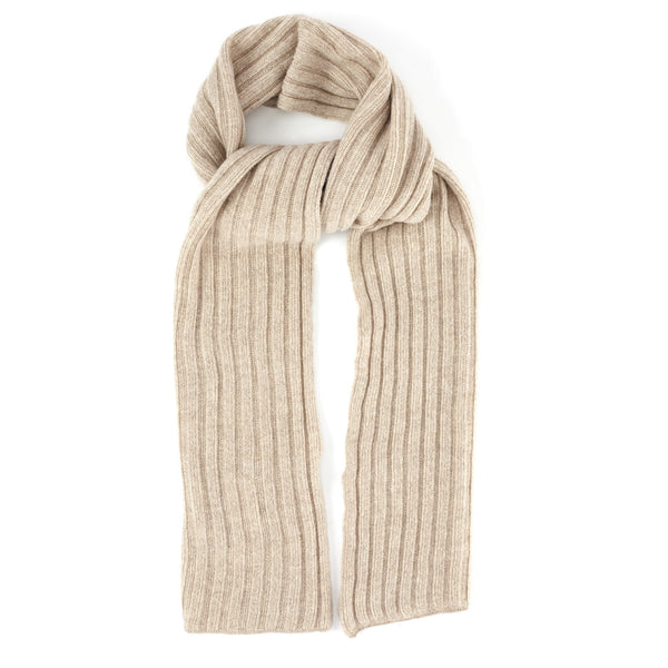 Ribbed-Knit Cashmere Scarf - Sand