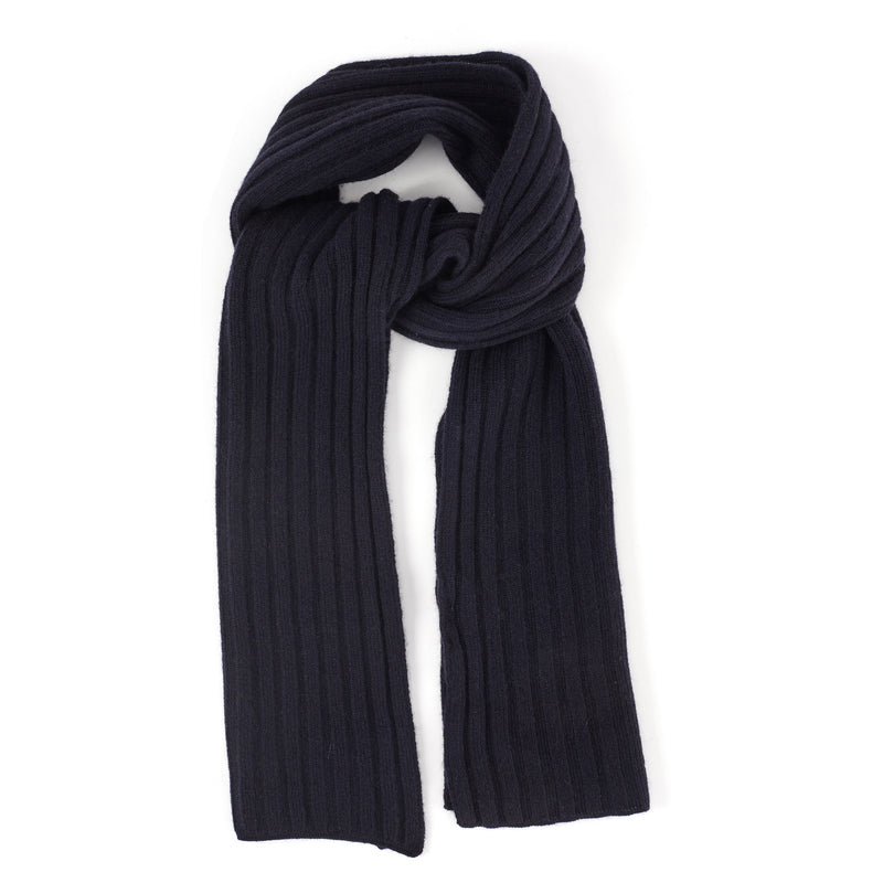 Ribbed-Knit Cashmere Scarf - Blue - FINAL SALE