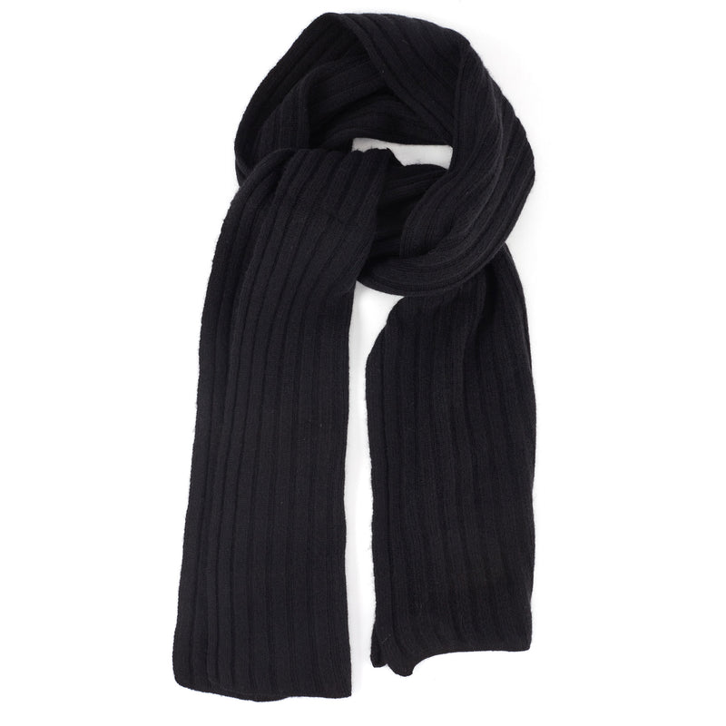 Ribbed-Knit Cashmere Scarf - Black
