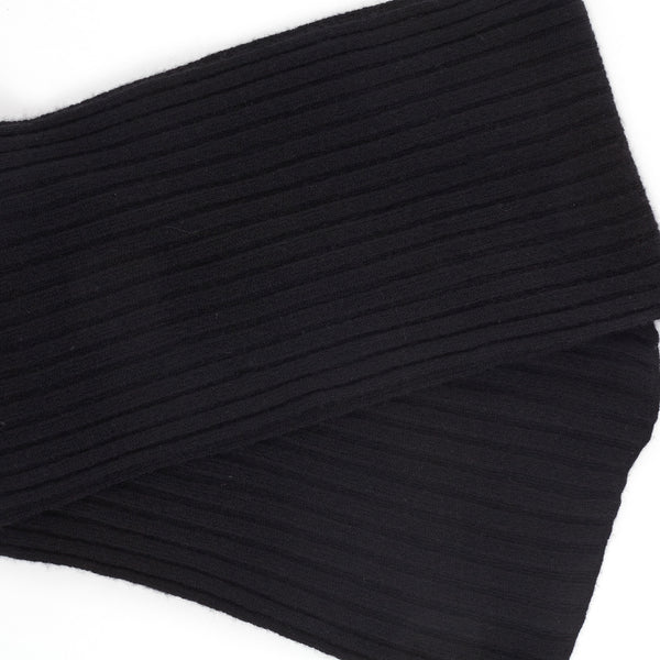 Ribbed-Knit Cashmere Scarf - Black - FINAL SALE