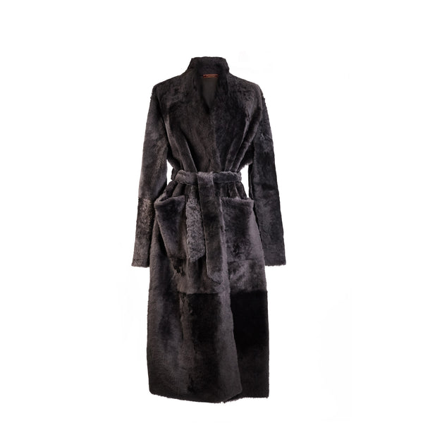 Sofia Reversible Belted Shearling Coat - Pure Grey