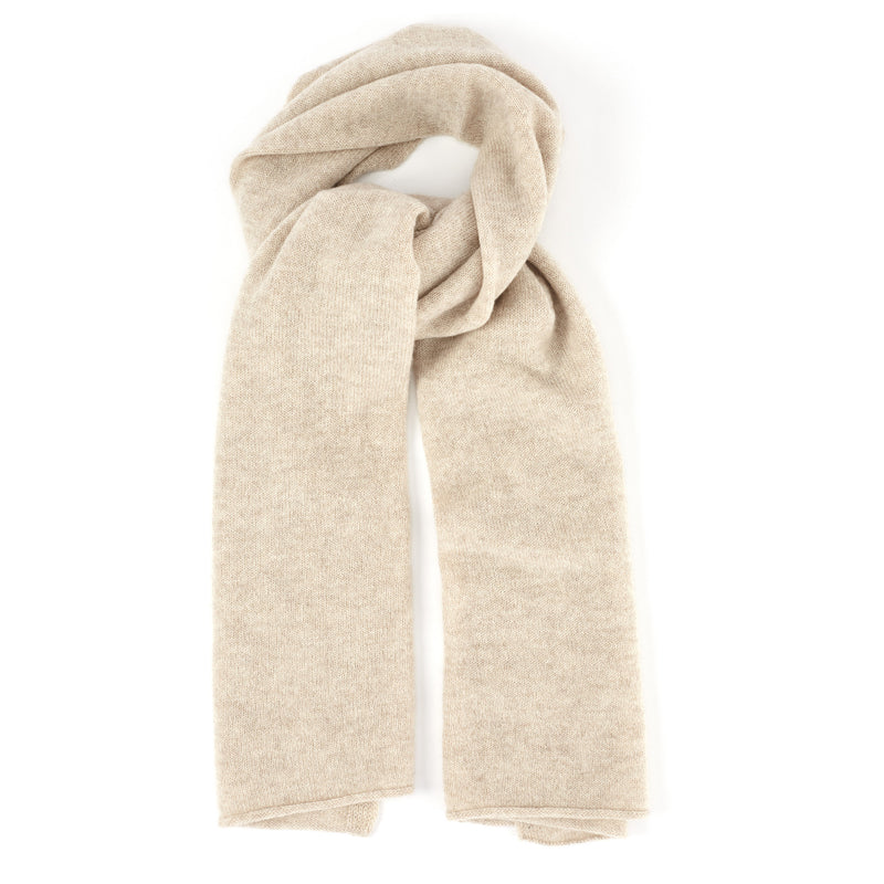 Elena Knit Cashmere Scarf - Sand - FINAL SALE