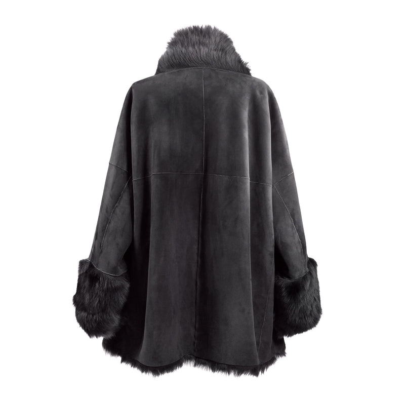 Gioia Toscana Reversible Suede/Shearling Coat - Pure Grey