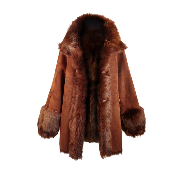 Gioia Toscana Reversible Suede/Shearling Coat - Tevla - FINAL SALE