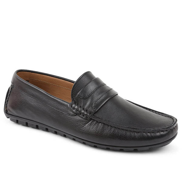 Xeleste Leather Driving Moccasin - Black