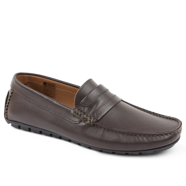 Xeleste Leather Driving Moccasin - Dark Brown