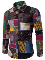 Button Up Ethnic Geometric Print Shirt For Men