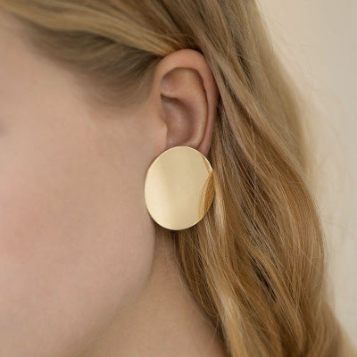 Generous Glossy Round Disc Earrings