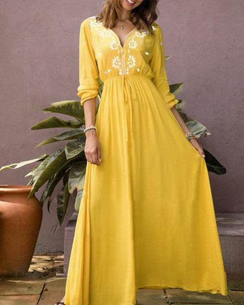 Women Vacation Floral Printed Deep V Neck Lace Up Maxi Dress