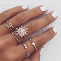 Diamond Star Moon Ring Set