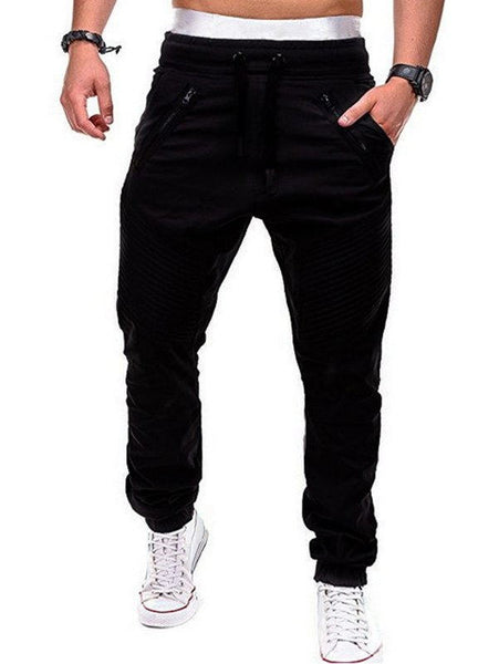Stitch Zipper Embellished Casual Jogger Pants For Men