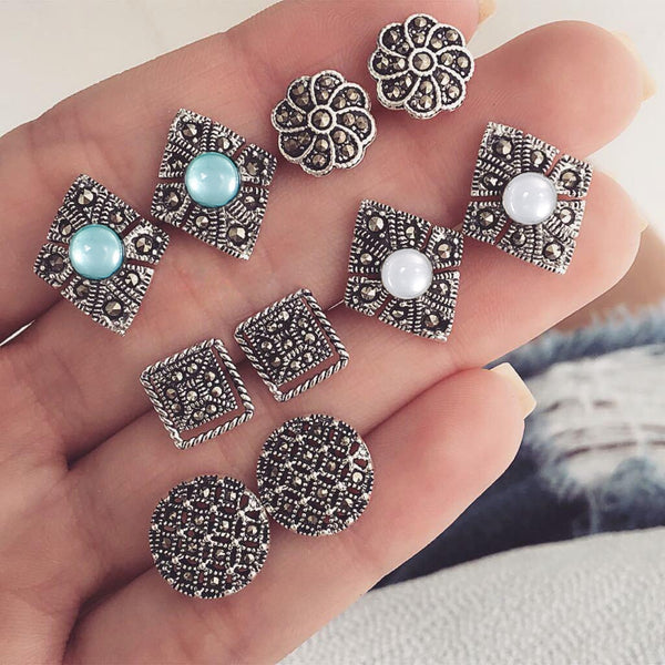 Dazzling Blue And White Gemstones 5 Pairs Earrings Sets