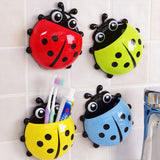Cute Pocket Ladybug Wall Suction Cup Pocket Toothbrush Holder Bathroom Hanger Stuff Home Decoration