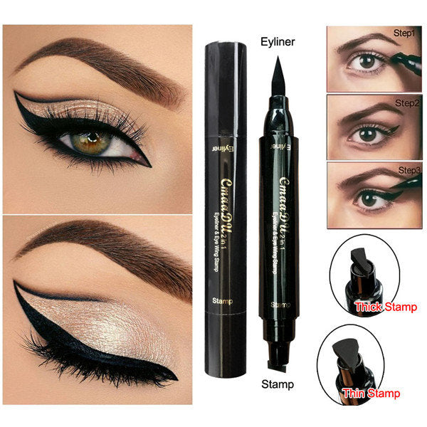 Cmaadu Double Head Eyeliner Stamp Pen Black Liquid Super Cat Style Point Make Up Tools