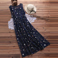 Random Floral Print Sleeveless Maxi Dress