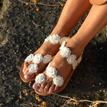Womens Beach White Summer Flat Flower Sandals Holiady Slippers
