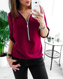 Fashion Sexy V-neck Zipper Long Sleeve Solid Color Plus Size Chiffon Shirt