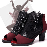 Women Sandals Peep Toe Tulle Wedge Chunky Heel Shoes Chic