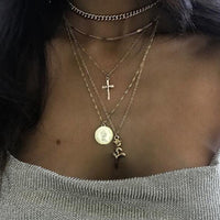 Cross Rose Multi-layer Necklace Sets