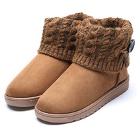 6 Colors Women Flat Heel Button Casual Fold Knitted Paneled Short Snow Boots