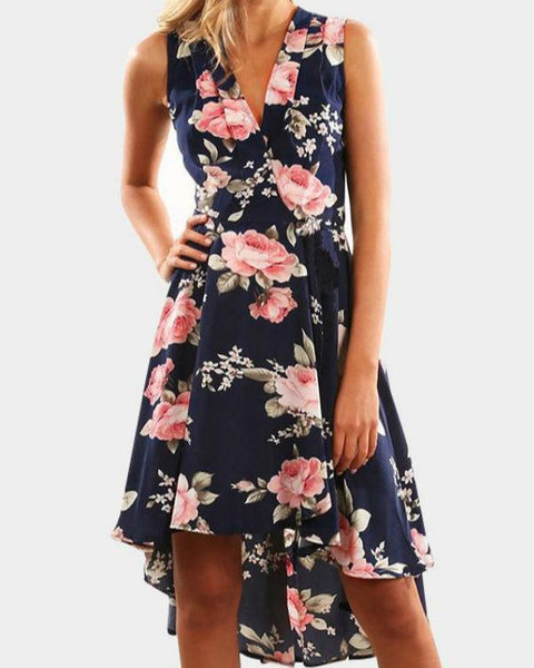 Navy Random Floral Print V-neck Sleeveless Irregular Hem Dresses