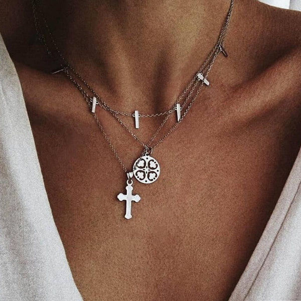 Multilayer Cross Four-leaf Clover Necklace