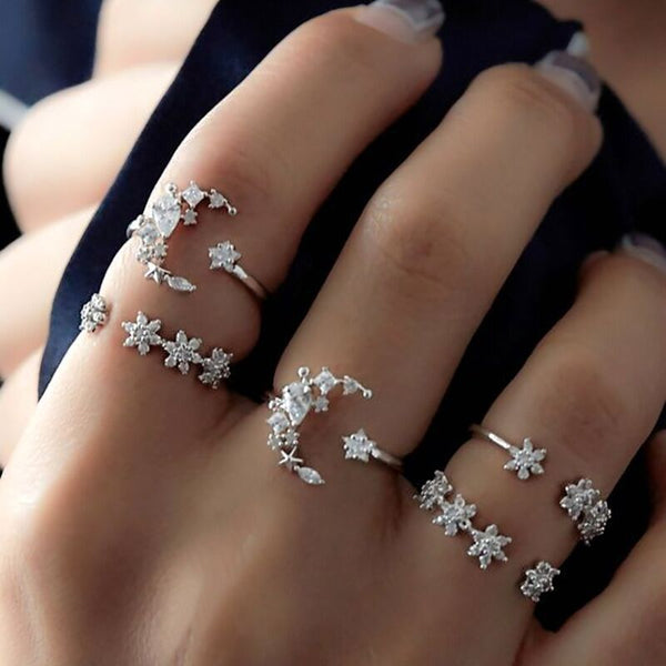 Bohemian 5 Piece Sets Diamond Moon Crystal Ring