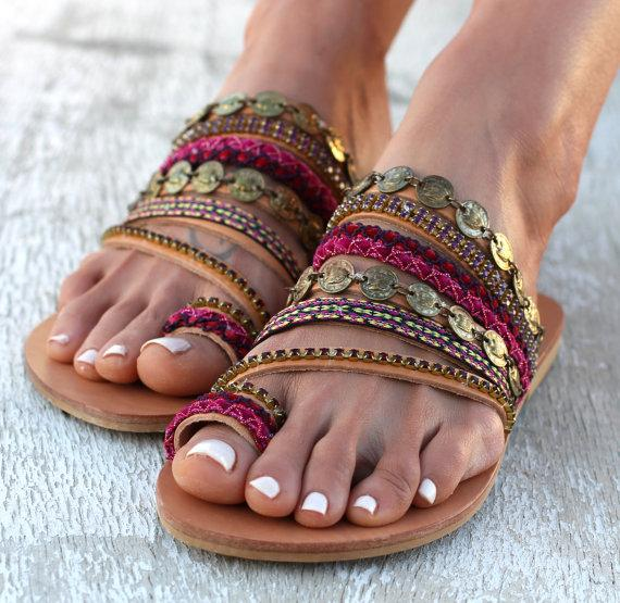 Slip on artisanal sandals, Handmade Greek Style Boho Sandals