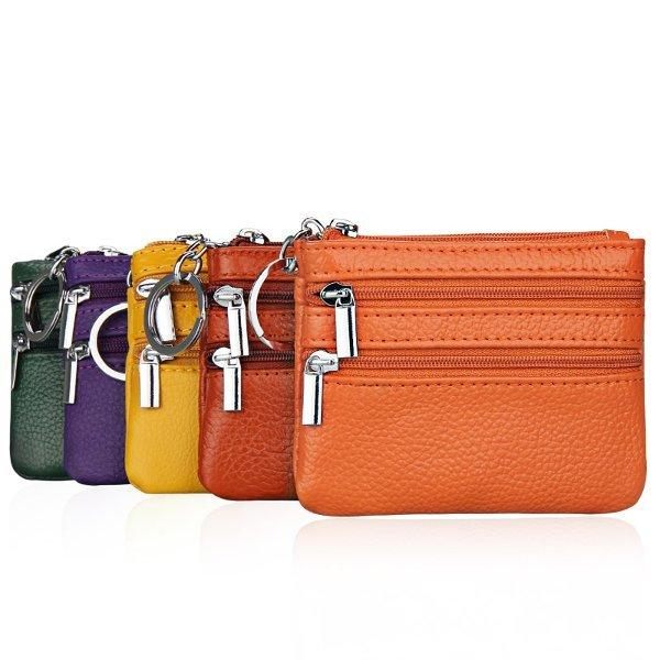 leather card holder womens Zipper Small Wallet Key Bag Card Holder