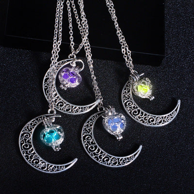 Luminous Beads Star Moon Pendant Necklace