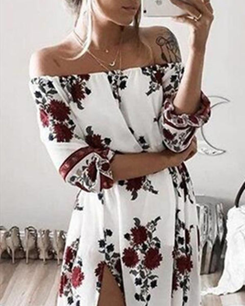 Women Casual Off Shoulder Printed Half Sleeve Split Dress