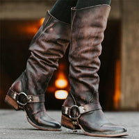 Women Leather Harness Western Boot
