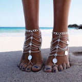 Multi-layer Chain Tassel Coin Anklet