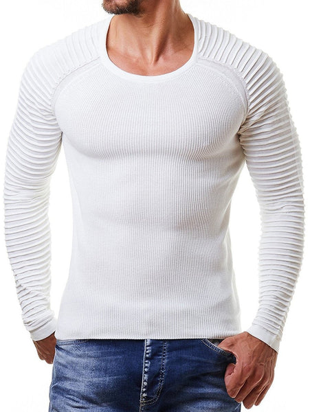 Pleated Raglan Sleeve Men Pullover Sweater