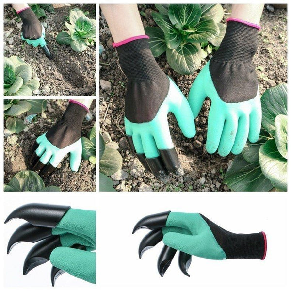2Pcs Gardening Digging Gloves Planting Rubber Polyester Safety Work Gloves Builders Grip Gloves