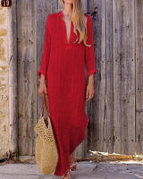 Women Shift Beach Holiday Linen Cotton Long Sleeve Dress