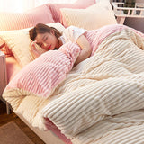 4Pcs Double Sided Flannel Bedding Sets Solid Color Wavy Stripes Thickening Duvet Cover