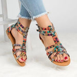 Women Summer Floral Flat Ankle Strap Peep Toe Casual Gladiator Sandals