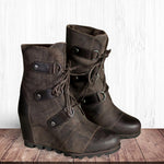 Women's Wedge Mid Waterproof Artificial Leather Boots