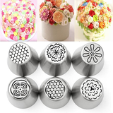6Pcs DIY Baking Tools Russian Tulip Flower Cake Icing Piping Nozzles Decorating Tips