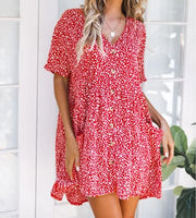 Women Casual Printed Short Sleeve Button With Pockets Dress