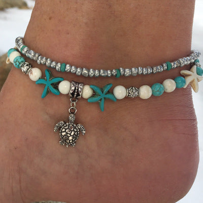 Conch Starfish Beach Turtle Turquoise Anklet Bracelet