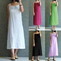 Women Casual Sleeveless Solid Cotton And Linen Plus Size Dress