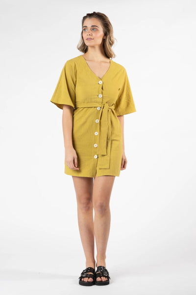 Ellika Button Front Dress Women Yellow | Lyn Rose Boutique