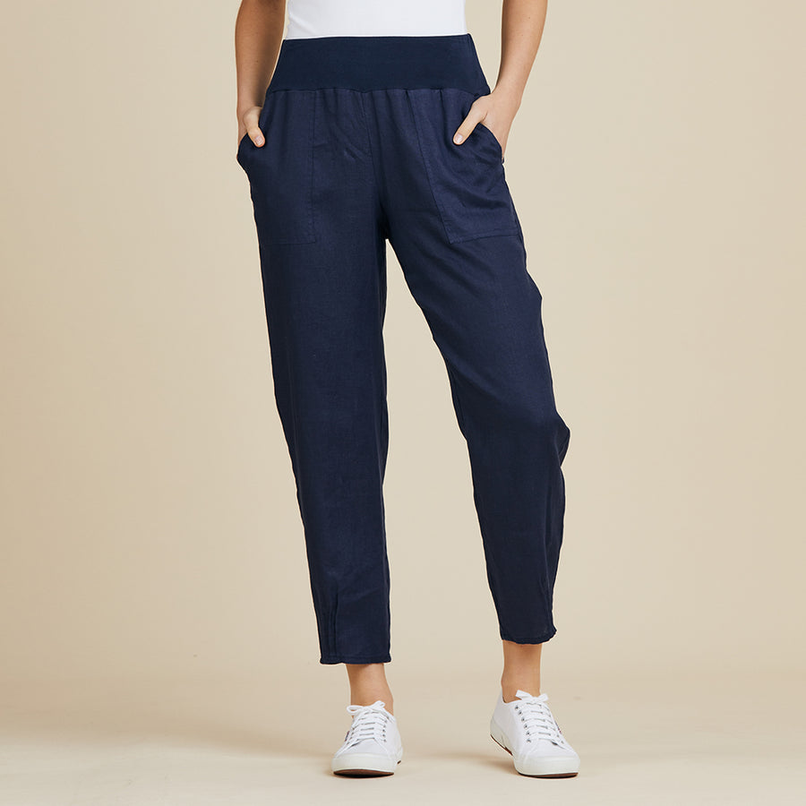 Jersey Waist Linen Pant Women Navy | Lyn Rose Boutique